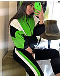 Женский спортивный костюм с контрастными вставками: объемная олимпийка и штаны с лампасами (в расцветках), фото 2