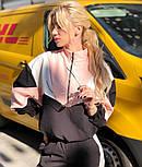 Женский спортивный костюм с контрастными вставками: объемная олимпийка и штаны с лампасами (в расцветках), фото 4