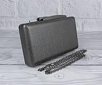 Вечерний клатч Rose Heart 7888 графит, сумочка на цепочке, фото 1