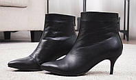 Женские кожаные ботинки с заостренным носком на шпильке Возможен отшив в других цветах кожи и замши, фото 1