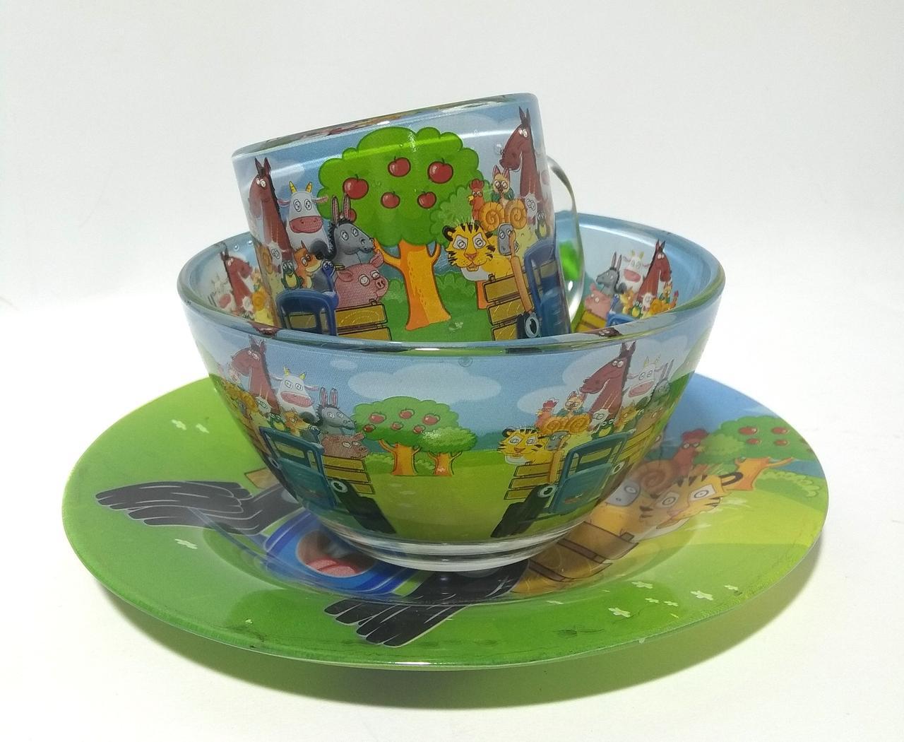 Детский набор посуды 3 предмета в ассортименте (тарелка 195+пиала 320+чашка 250г)   0580/227404 стекло