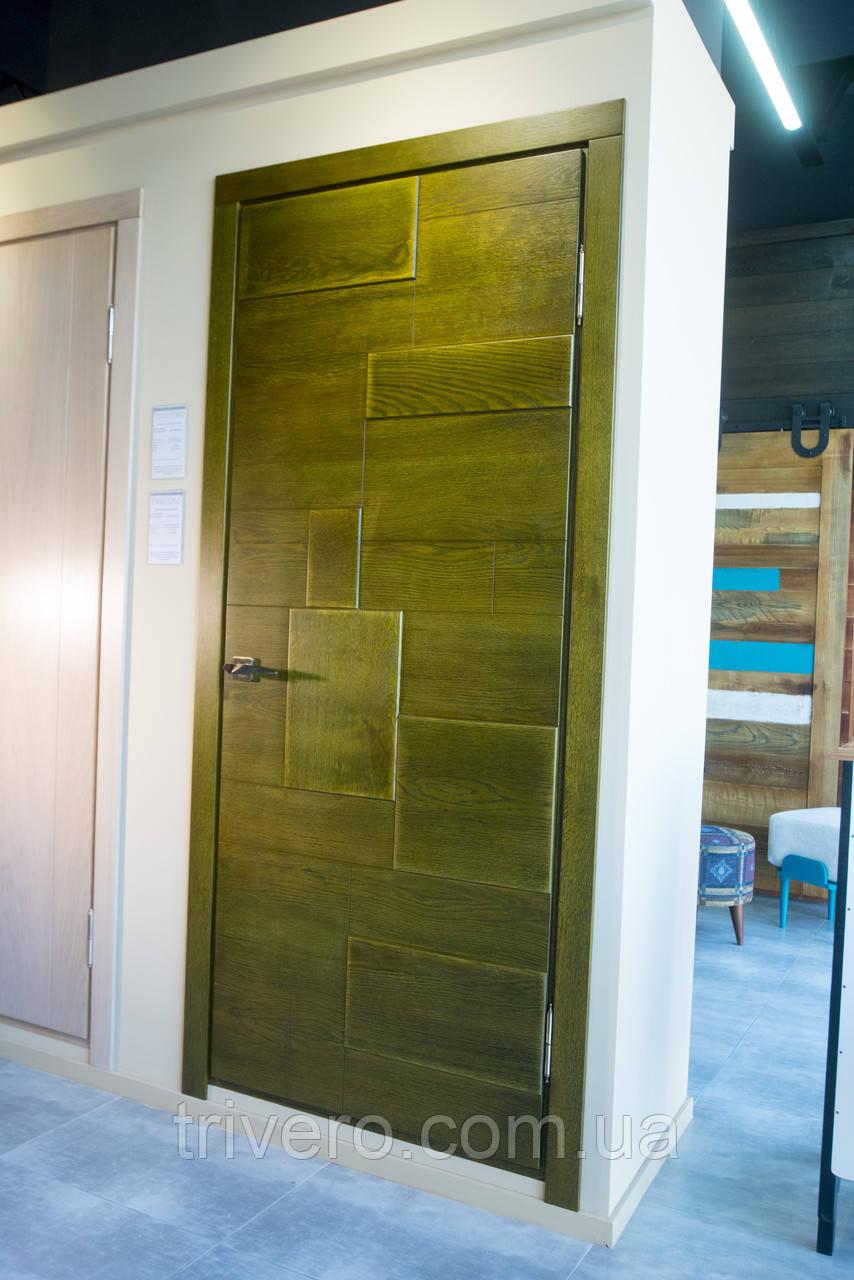 Межкомнатные двери в лофт стиле с вставками из дуба