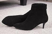 Женские ботильоны с заостренным носком на невысокой шпильке Натуральная замша Возможен отшив в других цветах