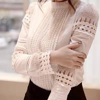 Женская кружевная блуза белая с длинным рукавом ТОП ПРОДАЖ