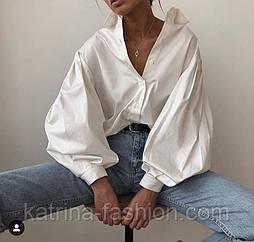 Женская белая рубашка с объемными рукавами