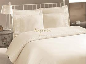 Постельное белье Nazenin сатин с кружевом Dantel кремовое  евро размера