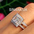 Серебряное кольцо с квадратным фианитом и золотом Грейс - Брендовое кольцо Грейс - Кольцо на помолвку, фото 4