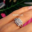 Серебряное кольцо с квадратным фианитом и золотом Грейс - Брендовое кольцо Грейс - Кольцо на помолвку, фото 2