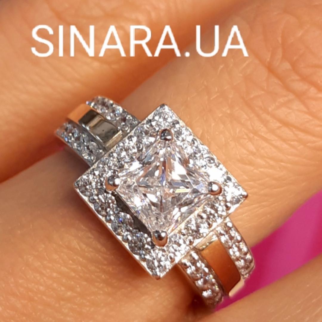 Серебряное кольцо с квадратным фианитом и золотом Грейс - Брендовое кольцо Грейс - Кольцо на помолвку