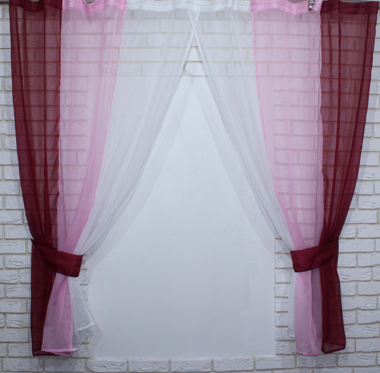 Комплект кухонные шторки с подвязками №54 Цвет бордовый с розовым