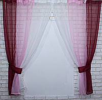 Комплект кухонные шторки с подвязками №54 Цвет бордовый с розовым, фото 1