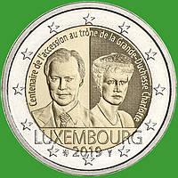 Люксембург 2 евро 2019 г. 100-летие вступления на престол Великой Герцогини Люксембурга Шарлотты .