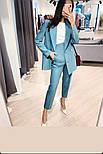Женский стильный брючный костюм-двойка: приталенный пиджаки брюки-дудочки (в расцветках), фото 2