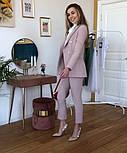 Женский стильный брючный костюм-двойка: приталенный пиджаки брюки-дудочки (в расцветках), фото 3