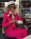 Женский стильный брючный костюм-двойка: приталенный пиджаки брюки-дудочки (в расцветках), фото 6