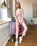 Женский стильный брючный костюм-двойка: приталенный пиджаки брюки-дудочки (в расцветках), фото 5