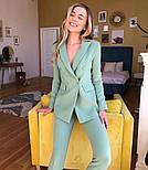 Женский стильный брючный костюм-двойка: приталенный пиджаки брюки-дудочки (в расцветках), фото 7