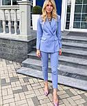 Женский стильный брючный костюм-двойка: приталенный пиджаки брюки-дудочки (в расцветках), фото 9