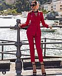 Женский стильный брючный костюм-двойка: приталенный пиджаки брюки-дудочки (в расцветках), фото 10