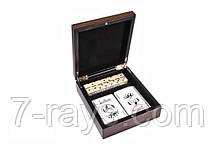 Игральные карты+игральные кубики в деревянной коробке