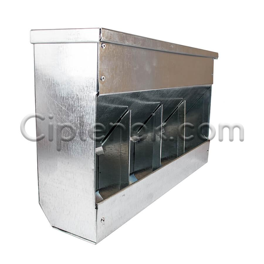 Бункерная кормушка для кроликов 4 отд. с крышкой метал.