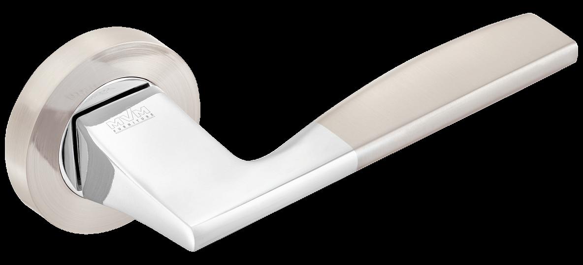 Дверні ручки MVM Z-1220 SN/CP матовий нікель/хром
