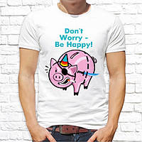 "Мужская футболка с принтом Поросенок-пират ""Don't worry - be happy!"" Push IT"