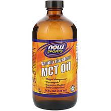 """Масло МСТ NOW Foods, Sports """"MCT Oil"""" для контроля и снижения веса, вкус ваниль и фундук (473 мл)"""
