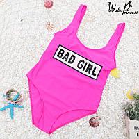 Розовый сплошной купальник с принтом bad girl, фото 1