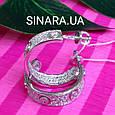 Серебряные брендовые серьги кольца - Серьги кольца с камнями родированное серебро, фото 5