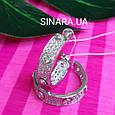 Серебряные брендовые серьги кольца - Серьги кольца с камнями родированное серебро, фото 4