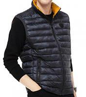 Мужская оригинальная темно-синяя жилетка на пуху Michael Kors
