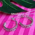 Серебряные брендовые серьги кольца - Серьги кольца с камнями родированное серебро, фото 3