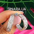 Серебряные брендовые серьги кольца - Серьги кольца с камнями родированное серебро, фото 2