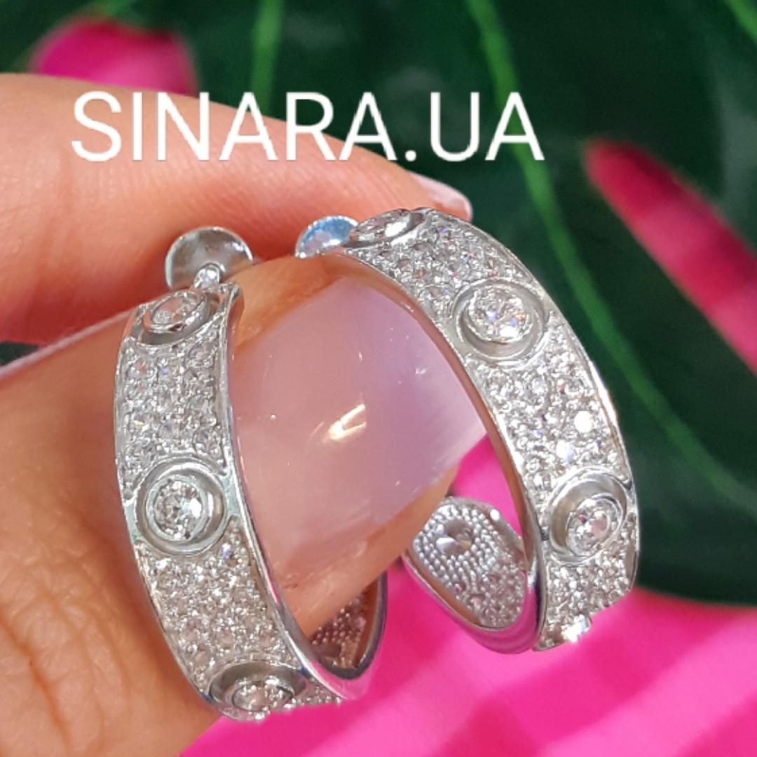 Серебряные брендовые серьги кольца - Серьги кольца с камнями родированное серебро