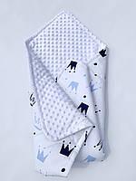 Плед - конверт детский демисезонный  из белого плюша Minky и хлопка для вашего малыша.