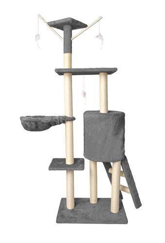 Дерево домик когтеточка когте точка драпак дряпка для кота кошки138 см сірий 7927