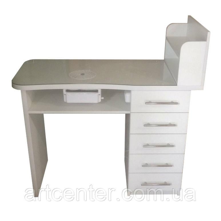 Стандартный стол для маникюра с полочкой для лаков и фигурной столешницей