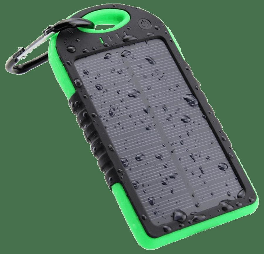 Внешний акумулятор Power bank 45000 mAhвзащищенномкорпусе на солнечной батарее c LED фонарем зелёно-чёрный