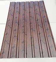 Профнастил для забору з малюнком дерево ВЕНГЕ, розмір листа 1,5мХ1,16м, фото 3