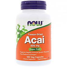 """Ягоды асаи NOW Foods """"Freeze-Dried Acai"""" сублимированные, 500 мг (100 капсул)"""