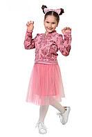 Модный, стильный костюм тройка розового цвета, фото 1