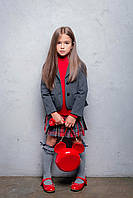 Костюм школьный, жакет джерси и юбка клетка плиссе серо-красная (Размерный ряд: 116-152 см)