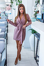"""Короткое стильное платье-пиджак """"Rosamund"""" с поясом и длинным рукавом , фото 2"""