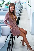 """Короткое стильное платье-пиджак """"Rosamund"""" с поясом и длинным рукавом , фото 3"""