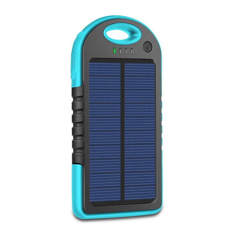 Внешний акумулятор Power bank 45000 mAhвзащищенномкорпусе на солнечной батарее c LED фонарем сине-чёрный