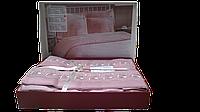 Постельное белье Nazenin сатин с кружевом Dantel пудровое евро размера