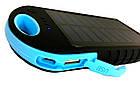 Внешний акумулятор Power bank 45000 mAhвзащищенномкорпусе на солнечной батарее c LED фонарем сине-чёрный, фото 5