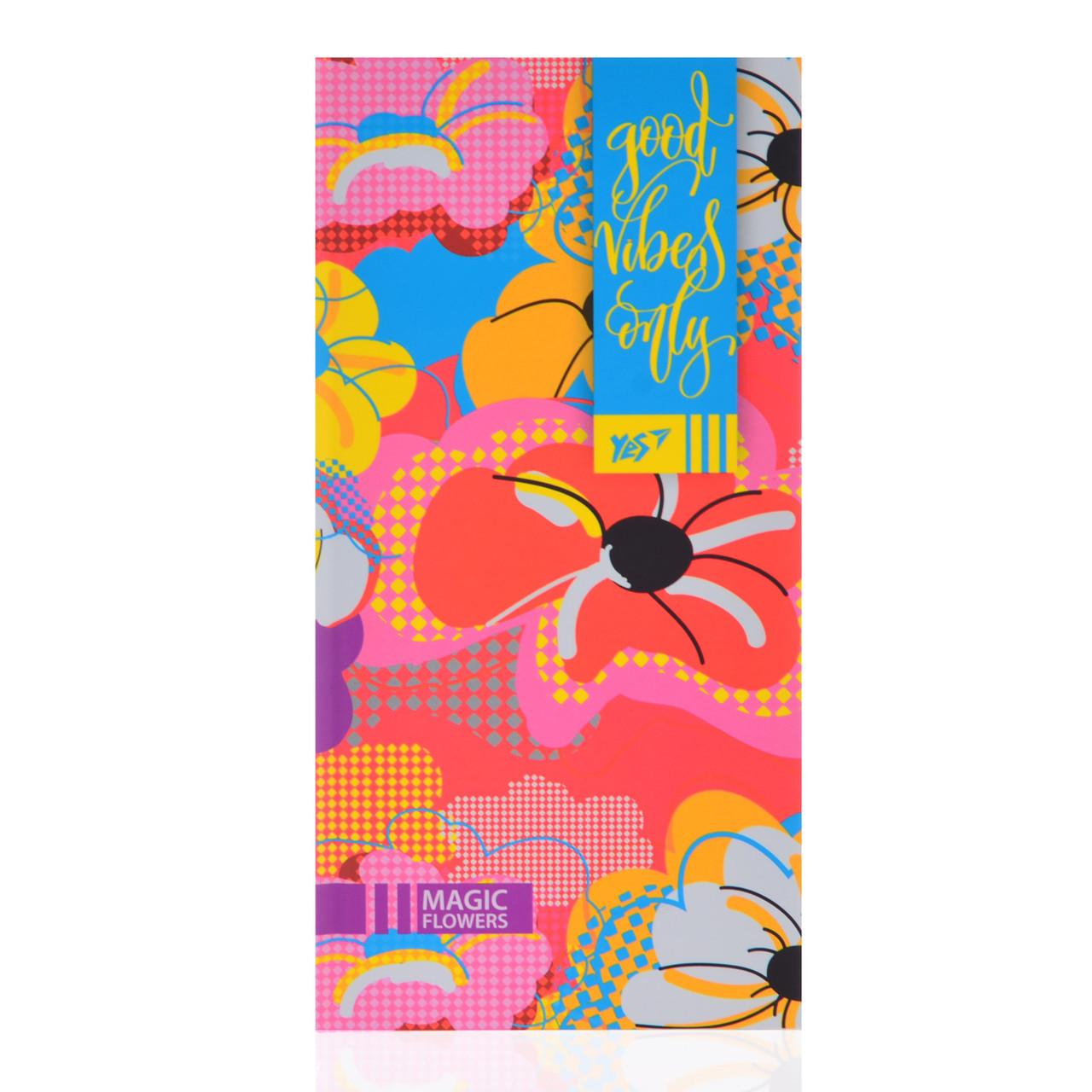 """Блокнот 100*200/64 ЛИН. интег., неон+софт-тач лак. """"Floral vibes"""" YES"""