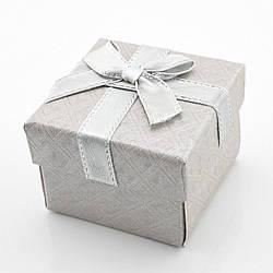 Коробочка серая для кольца-серег 1019, размер 5*5 см